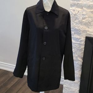 London Fog blk button up trench coat